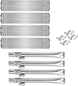 Uniflasy BBQ Parts Kit Grill Burner and Heat Plates Shield for Home Depot Nexgrill 720-0830H, 720-0830D, Includes 4 Pack Stainless Steel Grill Burner Tubes Pipe and Burner Cover Replacement Parts Kit