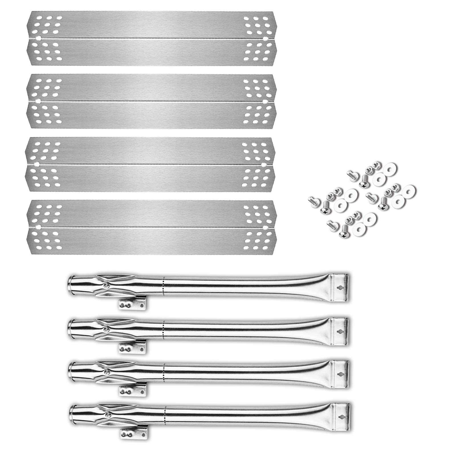 Uniflasy BBQ Parts Kit Grill Burner and Heat Plates Shield for Home Depot Nexgrill 720-0830H, 720-0830D, Includes 4 Pack Stainless Steel Grill Burner Tubes Pipe and Burner Cover Replacement Parts Kit by Uniflasy