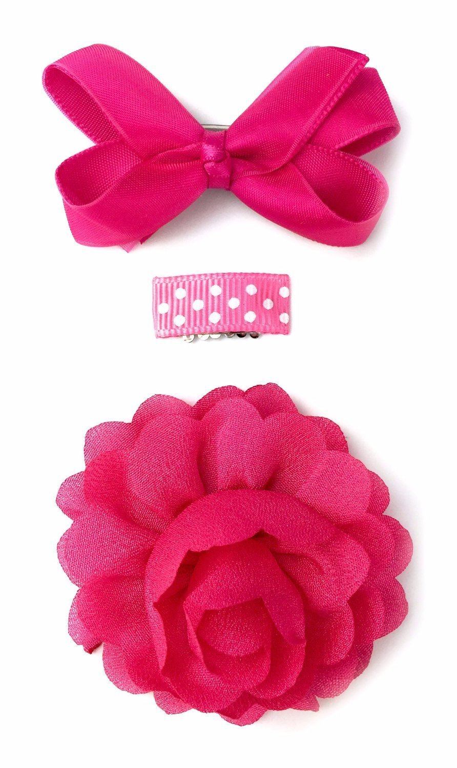 Baby Wisp Mini Latch Clip Satin Boutique Bow Grosgrain Ribbon Clip Flower Accessory Baby Girl Gift Set (Fuchsia)