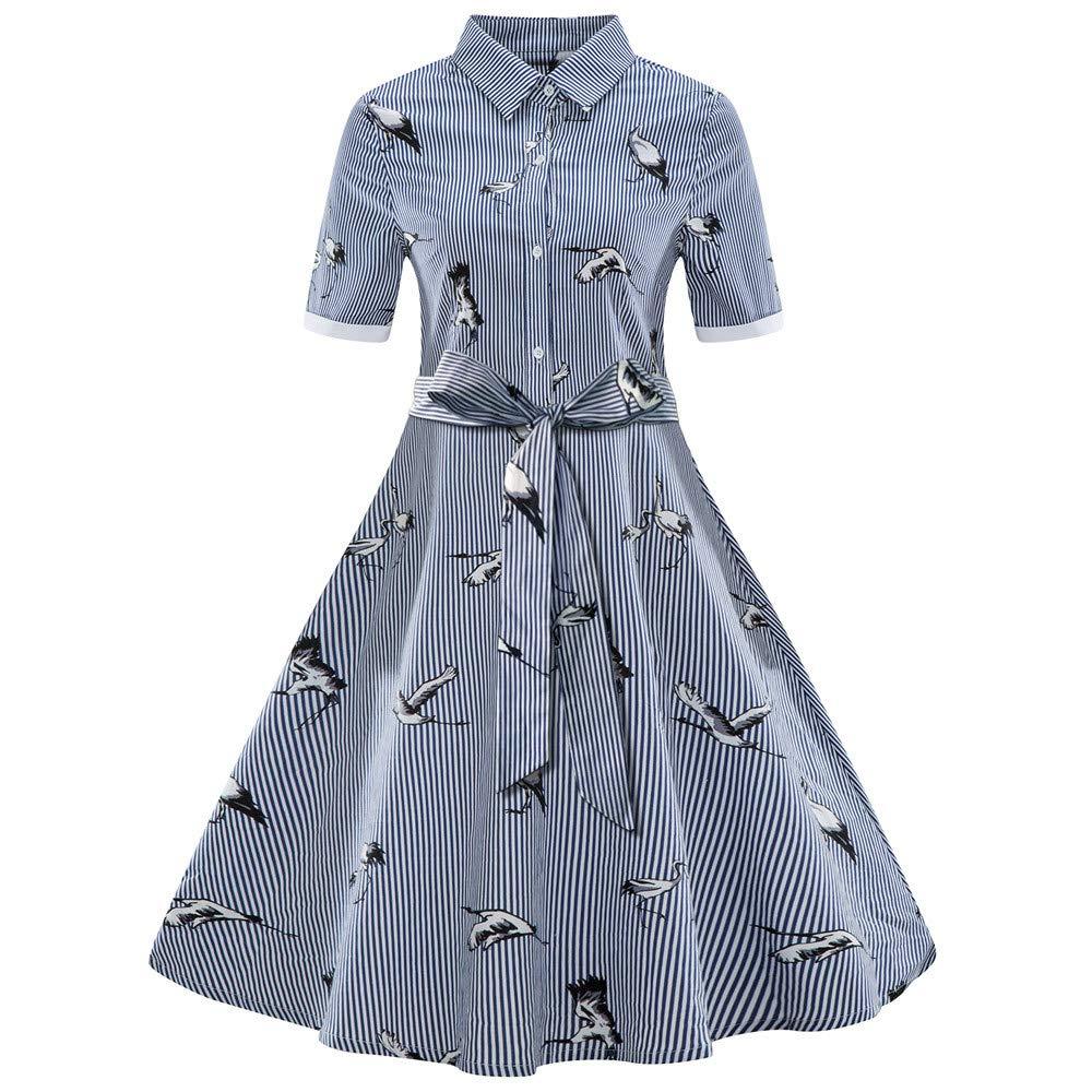 GREFER Fashion Womens Plus Size Dress Printed Stripe Vintage Slim Belt Shirt Swing Dress Blue