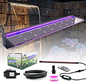 """LONGRUN Acrylic Spillway Waterfall Multi-Color Controllable LED Light Water Pool Fountain with 47.2"""" PVC Tube Fountains Kit for Swingming Pond Garden Outdoor-35.4"""