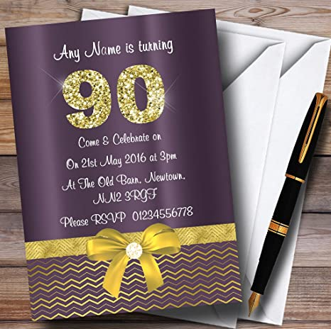 amazon com purple satin and gold bow 90th personalized birthday