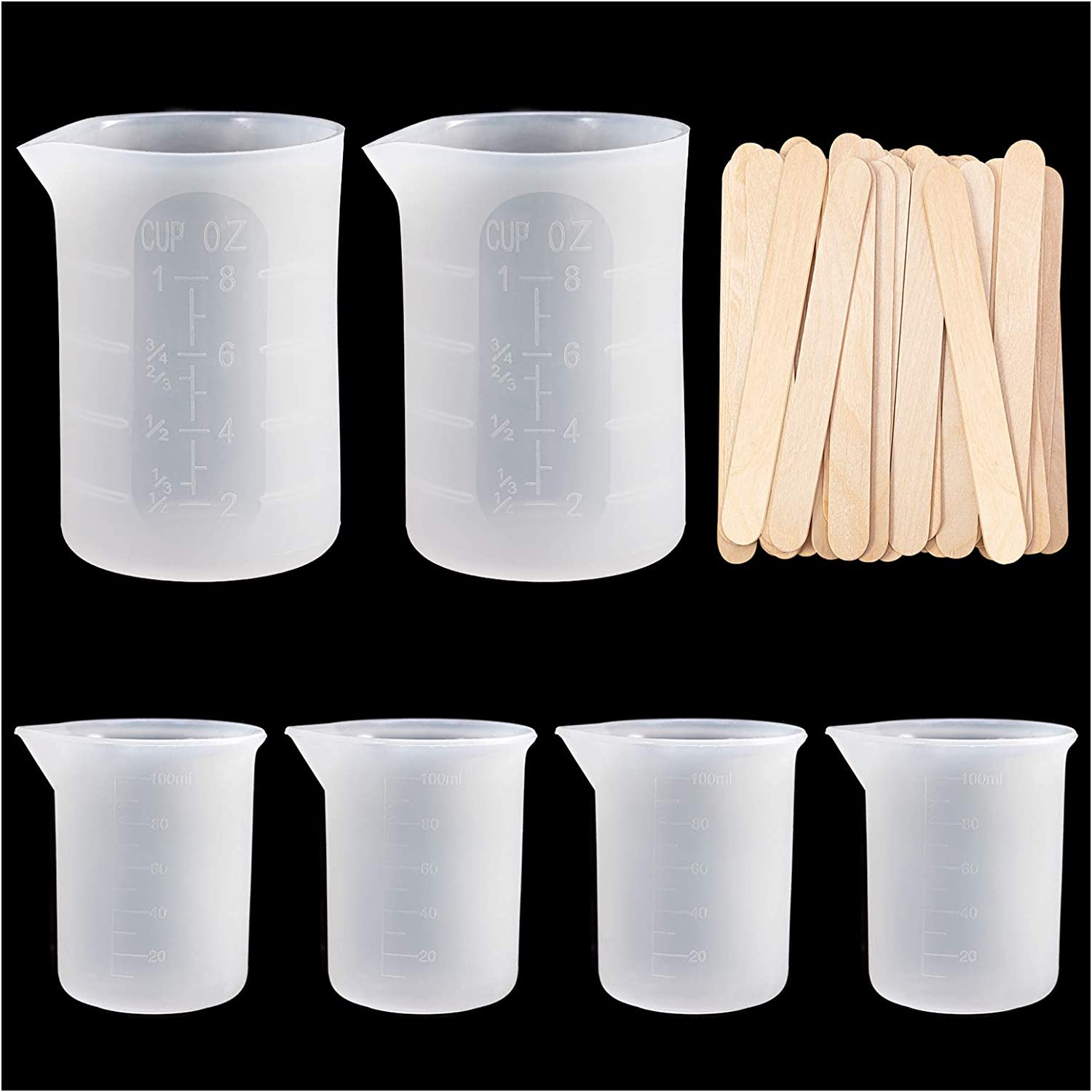 Silicone Measuring Cups for Resin, Resin Mixing Cups, Epoxy Measuring Cups with Wooden Stirrers for Jewelry Casting Molds, Epoxy DIY Crafts Tools