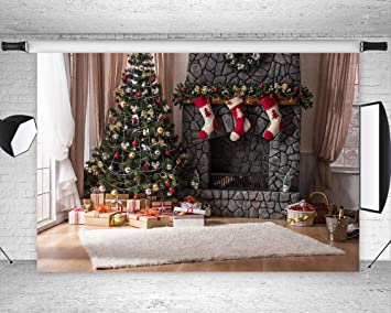 sports shoes 6f53c e476b Art Studio Christmas Wooden Background for Photography Xmas Year Backdrop  Christmas Tree Gifts Rock Fireplace Photo Festival Decoration Studio Vinyl  ...