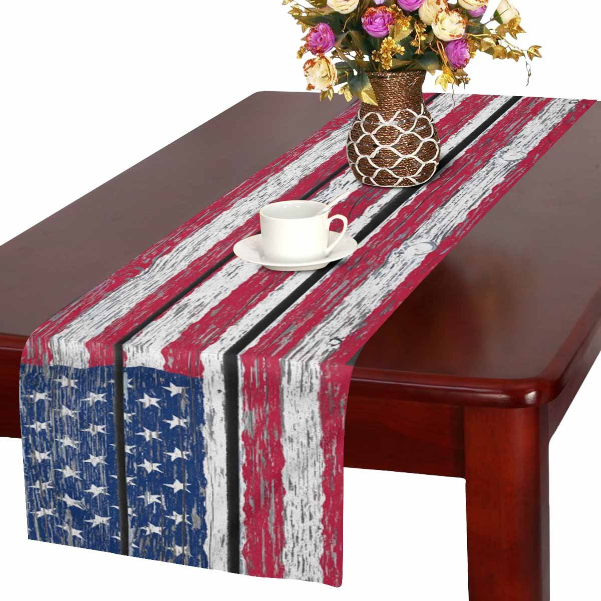 InterestPrint American Flag Independence Fourth of July on Wood Table Runner Cotton Linen Home Decor for Wedding Party Banquet Decoration 16 x 72 Inches
