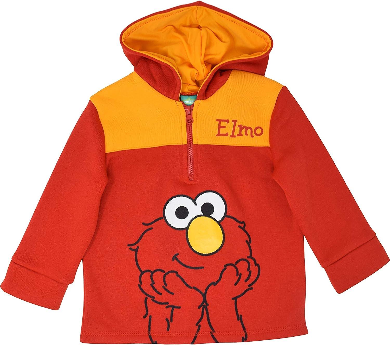 Sesame Street Elmo Toddler Boys Half Zip Fleece Pullover Hoodie Red 4T