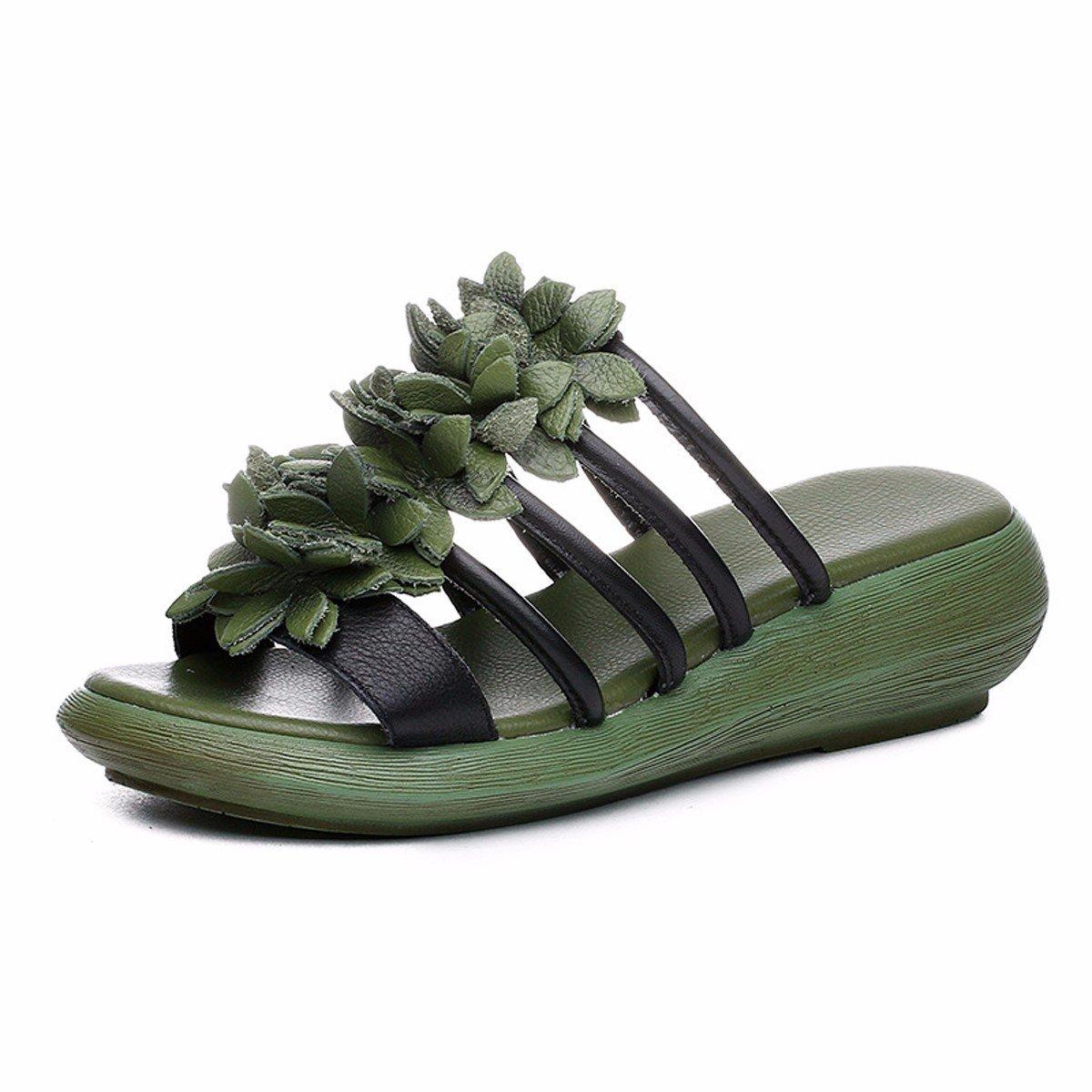 GTVERNH Zapatillas de Verano para Mujer, Flores, Tacones de Cuero, Zapatos de Piel para Restaurar Las Antiguas Maneras, Amarillo, Forty Forty|amarillo