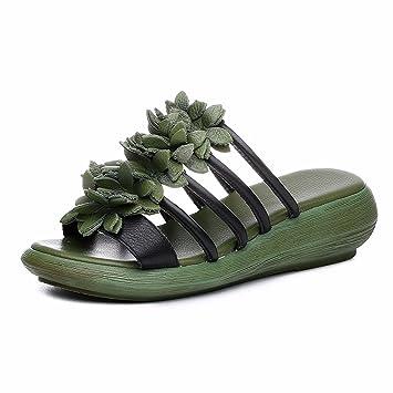 1564c2b7 GTVERNH Zapatillas de Verano para Mujer, Flores, Tacones de Cuero, Zapatos  de Piel para Restaurar Las Antiguas Maneras: Amazon.es: Deportes y aire  libre