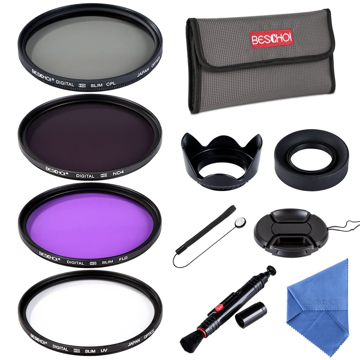 Beschoi 58mm UV CPL FLD ND4 Neutral Density Lens Filter Photography Lens Accessories Kit for Canon Nikon and Other Camera Lens with 58mm Filter Thread + Lens Cap + Lens Hood + Filter Pouch by Beschoi