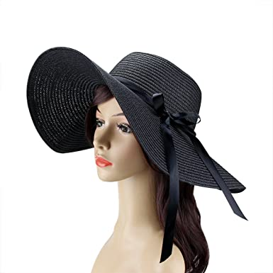 da667f699e907 Amazon.com  Womens Beach Hat Foldable Summer Cap Big Brim Straw Hat Travel  Bowknot Floppy Sun Hat Black  Clothing