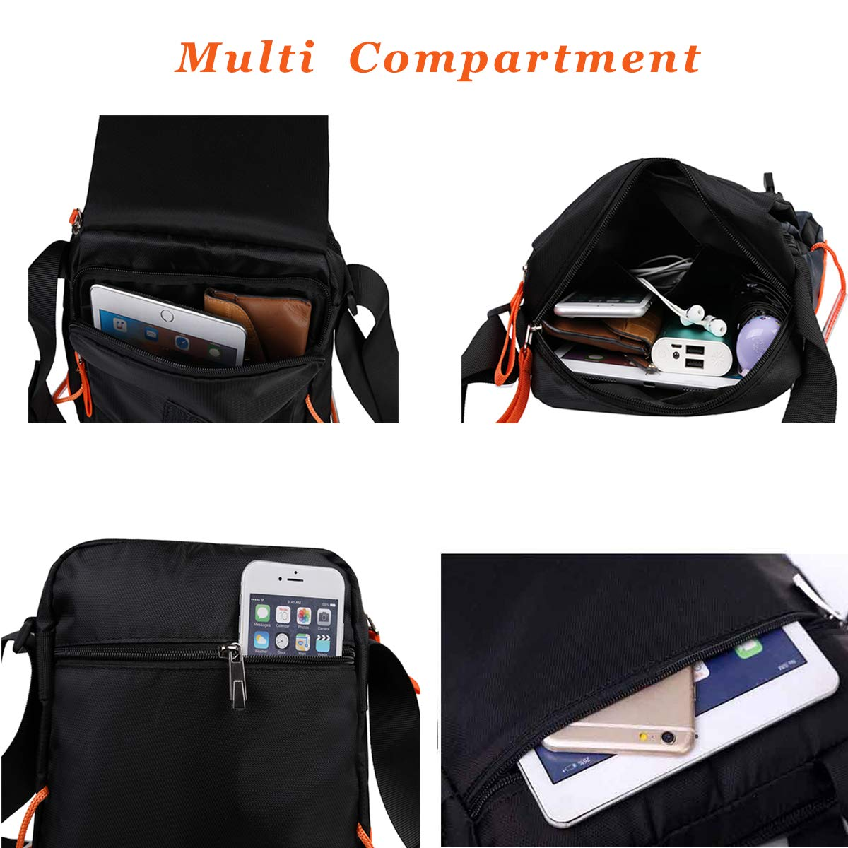 9b3a632583 Amazon.com  JAKAGO Waterproof Messenger Bag Shoulder Crossbody Bag Mobile  Phone Pouch Passport Holder Mens Purse Bag 10.1 inch Tablet Bag Work Field  Bag for ...