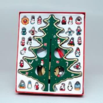 "12.25"" Wooden Christmas Tree With Miniature Ornaments Table Top  Decoration - Amazon.com: 12.25"