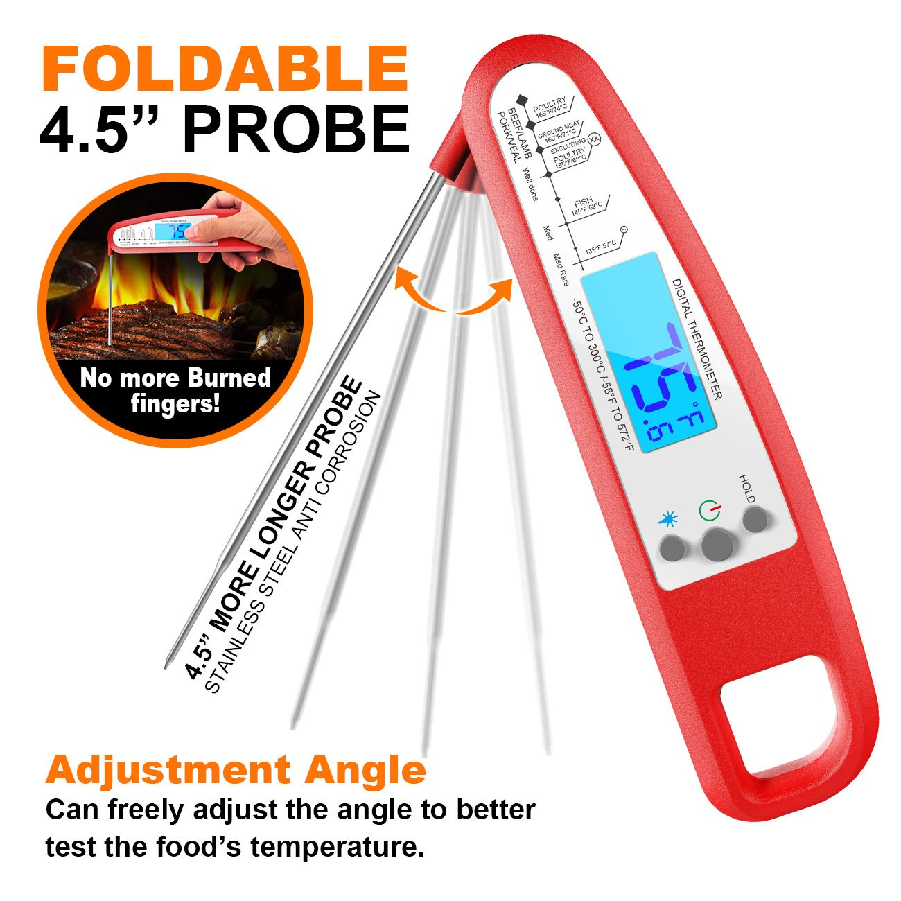 Digital Meat Thermometer, eSamcore Instant Read Cooking Thermometer Fast Accurate Food Thermometer w/ Bright LCD Display for Kitchen BBQ Grill Smoker [Chipotle]