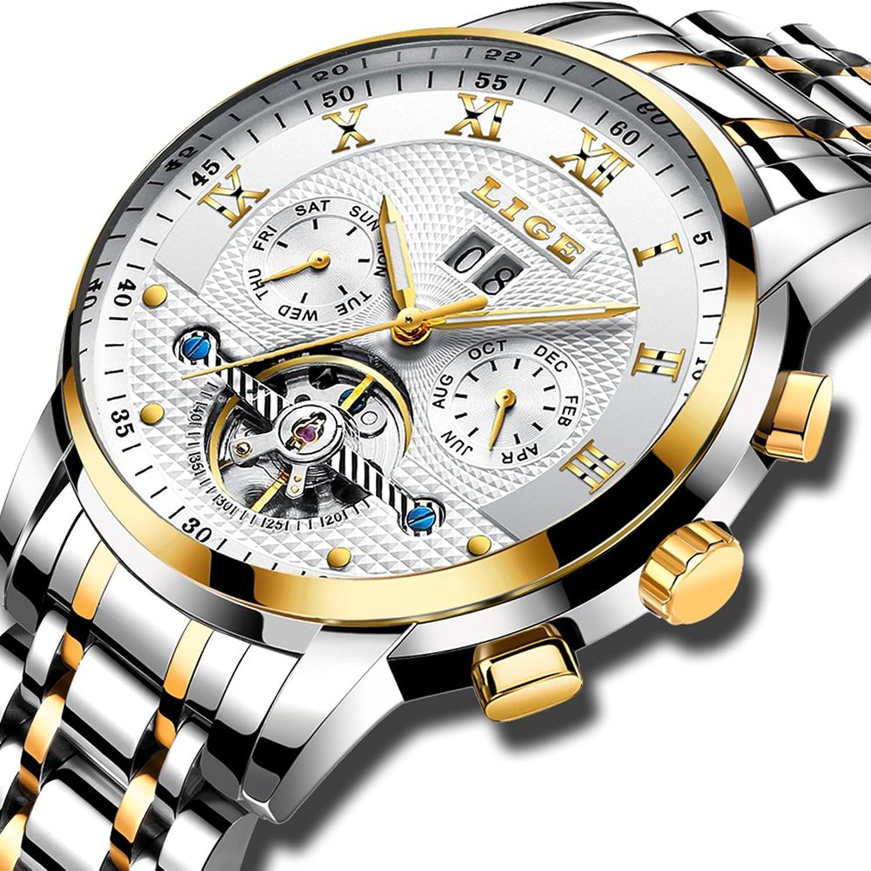 Mens Automatic Mechanical Watches防水ステンレススチールLuxuryビジネスドレス腕時計for Man、ゴールドwithホワイト B07CH7W6F4