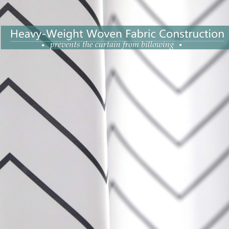 Premium White Fabric Shower Curtain Farmhouse Cloth Shower Curtains for Bathroom 72 x 72 Black Stripe -Machine Washable