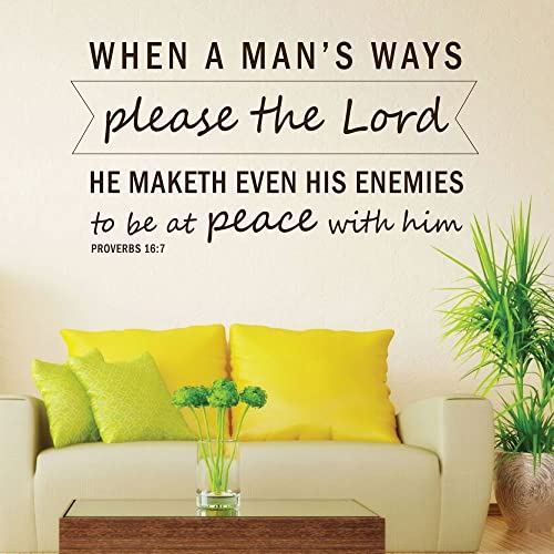 Bible Verse Wall Art   Proverbs 16:7 Wall Decal   When A Manu0027s Ways