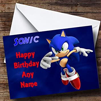 Personalised Sonic The Hedgehog Birthday Card Amazon
