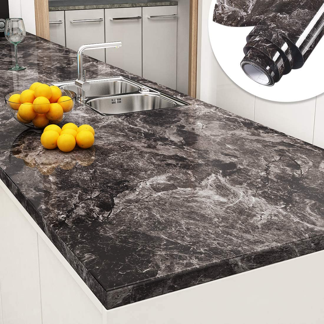 Granite Marble Removable Wallpaper Decorative Vinyl Film for Kitchen Countertops
