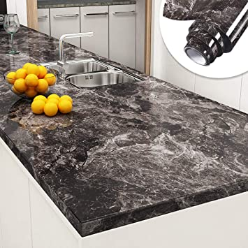 Yenhome Peel and Stick Countertops 24 x 196 inch Sandstone Black Granite  Marble Removable Wallpaper Decorative Vinyl Film for Kitchen Countertops  Peel ...