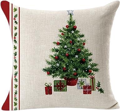 Fundas Cojines 45x45 de Navidad Decoracion, Lino Funda de Cojín Decoracion para Hogar Casa Sofa Jardin Cama (A): Amazon.es: Ropa y accesorios
