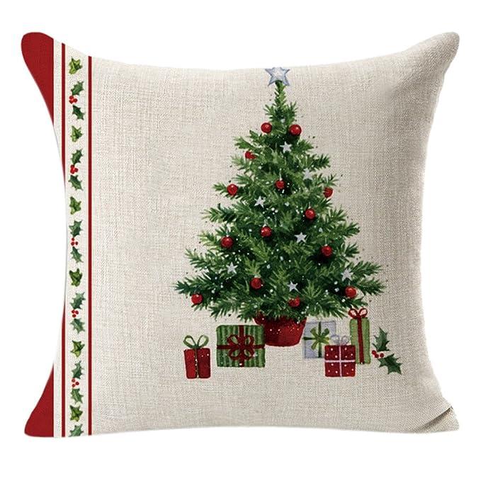 Fossrn Navidad Fundas Cojines 45x45,Lino Cuadrado Funda de Almohada Cojín Decorativo