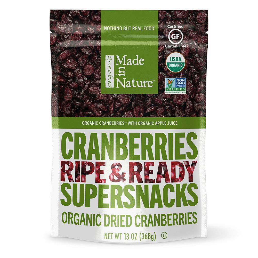 Made in Nature Organic Dried Fruit, Cranberries, 13oz Bag – Vegan, Non-GMO, Unsulfured