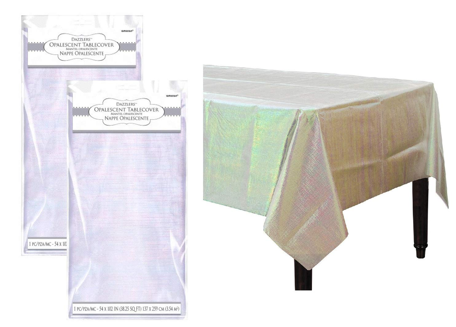 Iridescent Party Decorations Opalescent Shiny Table Covers Pack of 2 by FAKKOS Design