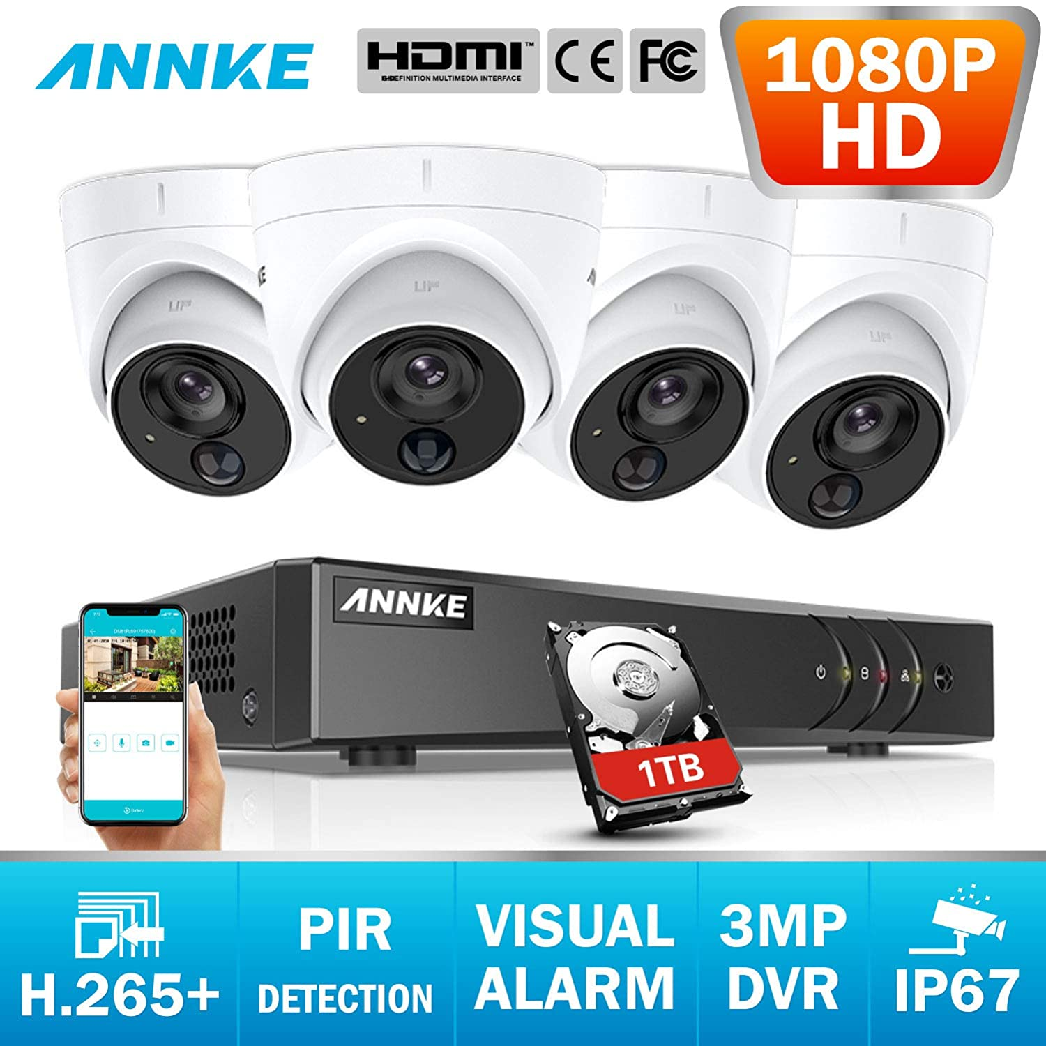 ANNKE 3MP 8CH CCTV Camera System with PIR Detection, Home Security 5-in-1  H 265+ DVR Kits and 4X 1080P HD IP67 Weatherproof Dome Cameras, White Light
