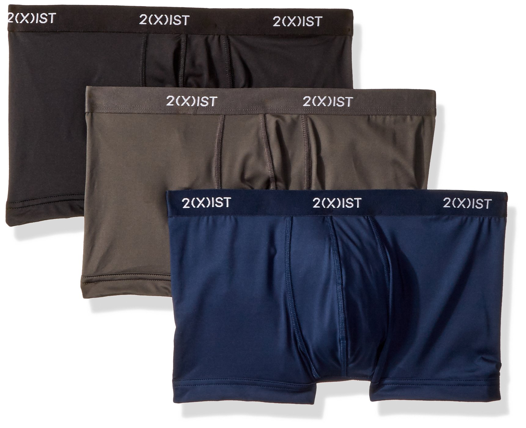 2(X)IST Men's Micro Speed Dri 3PK No-Show Trunk Underwear, Black/Charcoal/Varsity Navy, Medium by 2(X)IST