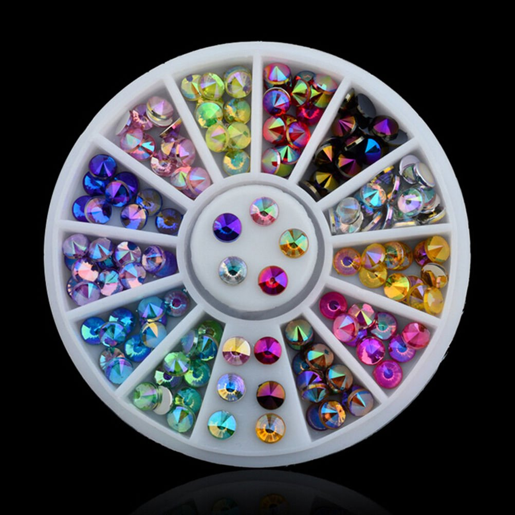 3D Nail Art Tips Crystal Glitter Rhinestone DIY Decoration Wheel 12 Colors by Team-Management Baizhou Xu