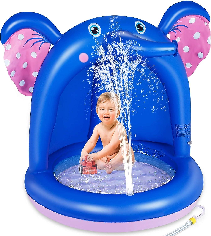 lenbest Piscina Inflable para Bebés, Hinchable Infantil, Elefante Splash Pool para Niños, Aspersor de Juego con Fondo de Burbuja Inflable de Doble ...