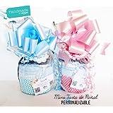 Mini-Tarta de Pañales con Chupete SUAVINEX | Personalizable con nombre bebé y Accesorios PREMIUM a Elegir |…