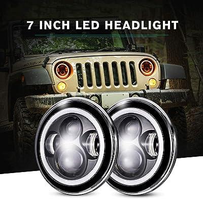IRONWALLS 2PCS DOT Approved 7'' inch Led Headlights Headlamps Angel Eye Round Halo Black For Jeep Wrangler JK CJ TJ LJ 2 Door 4 Door Land Rover Hummer: Automotive