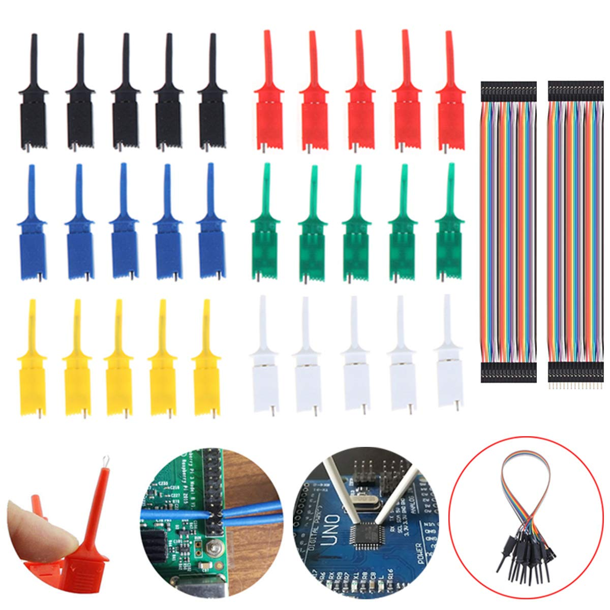 Youmile 30PCS Test Hook Clip Mini 6 Color For SMD IC Electronic Experiment PCB With Dupont Cable Female to Female,male to Female 30 PIN