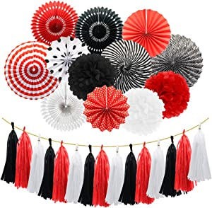 Meiduo Mickey Mouse Ladybug Pirate Birthday Party Decorations, Red White Black Hanging Paper Fans Pom Poms Flowers Tissue Tassel Garland for BBQ Graduation Retirement Halloween