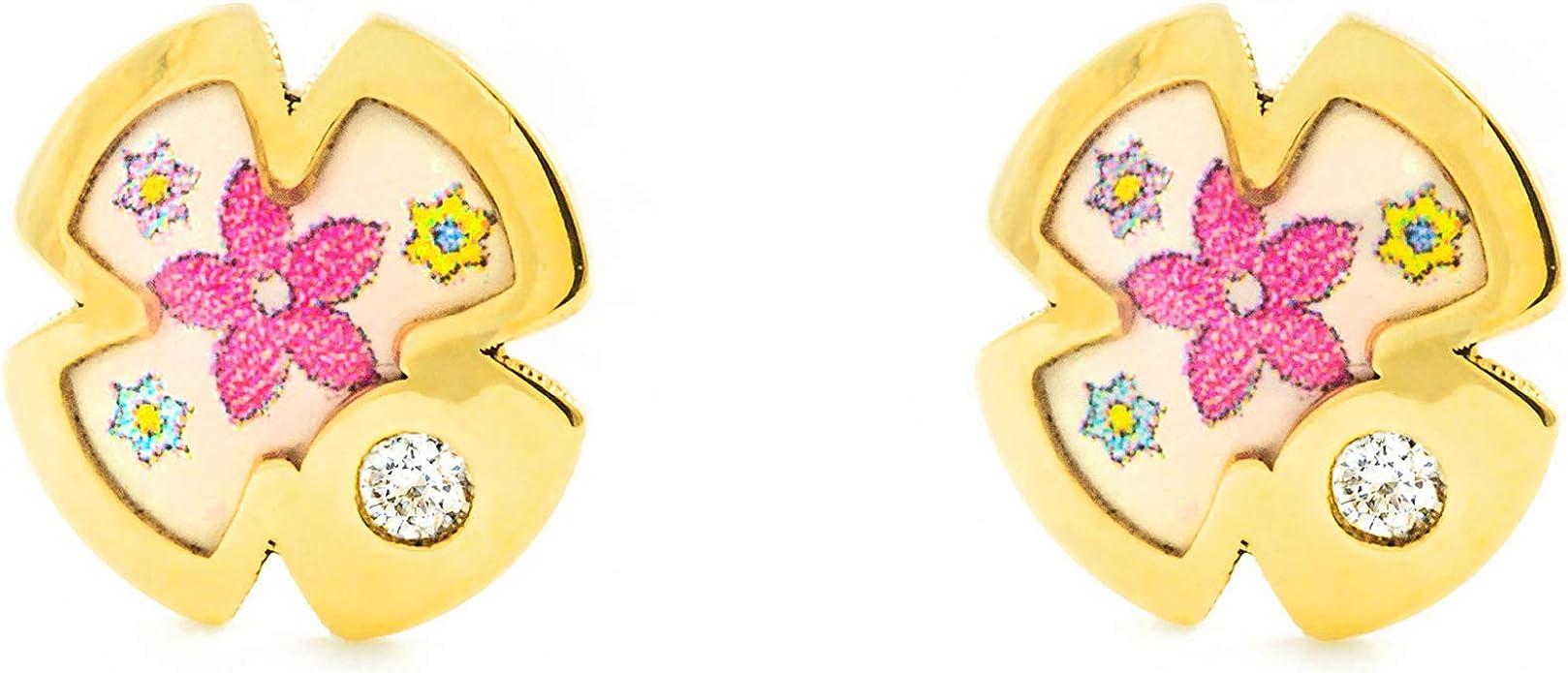 9kts Pendientes Oro Ni/ña flor esmalte colores circ/ón