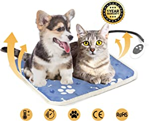 Heated Cat Bed, Pet Heating Pad for Kittens, Cats, Puppies and Dogs, Electric Dog Bed Heated Pad for Indoor Pets 17 x 17 Inches