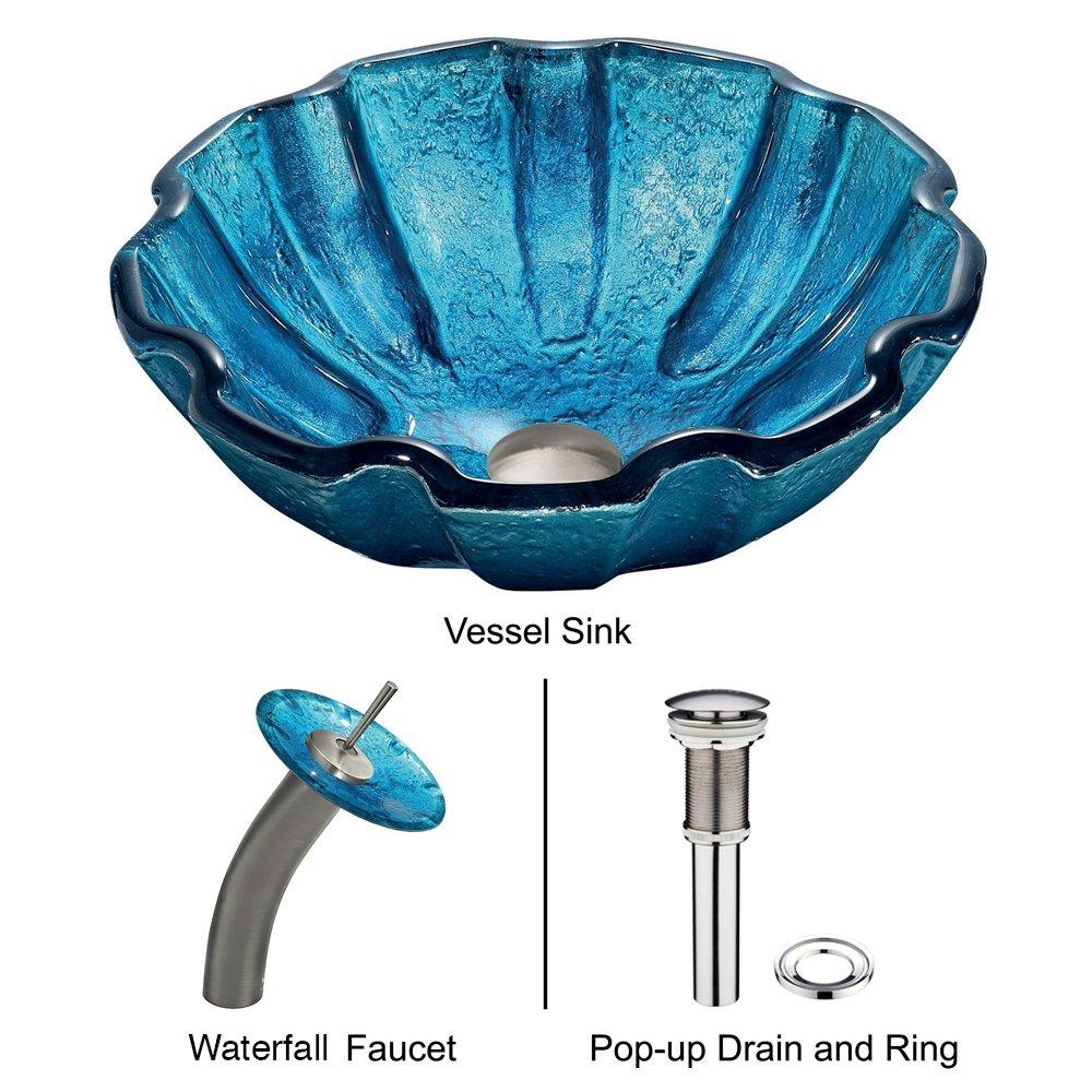 VIGO Mediterranean Seashell Glass Vessel Bathroom Sink and Waterfall ...