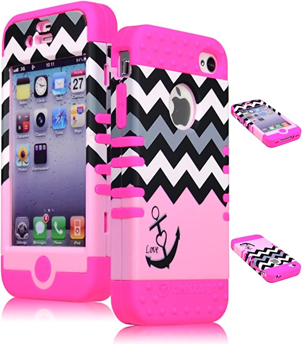 Bastex Heavy Duty Hybrid Case for iPhone 4, 4s, 4th Generation - Pink Silicone/Black & White Chevron Pattern Hard Shell with Anchor & Heart Design