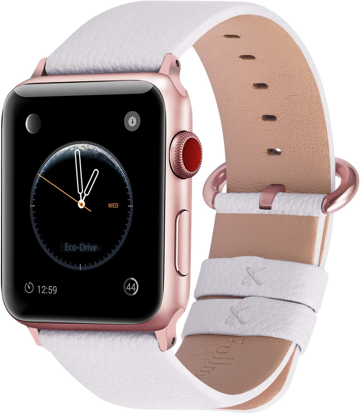 Fullmosa Compatible Apple Watch Band 42mm 44mm 40mm 38mm Leather Compatible iWatch Band/Strap Compatible Apple Watch SE & Series 6 5 4 3 2 1, 42mm 44mm White + Rose Gold Buckle