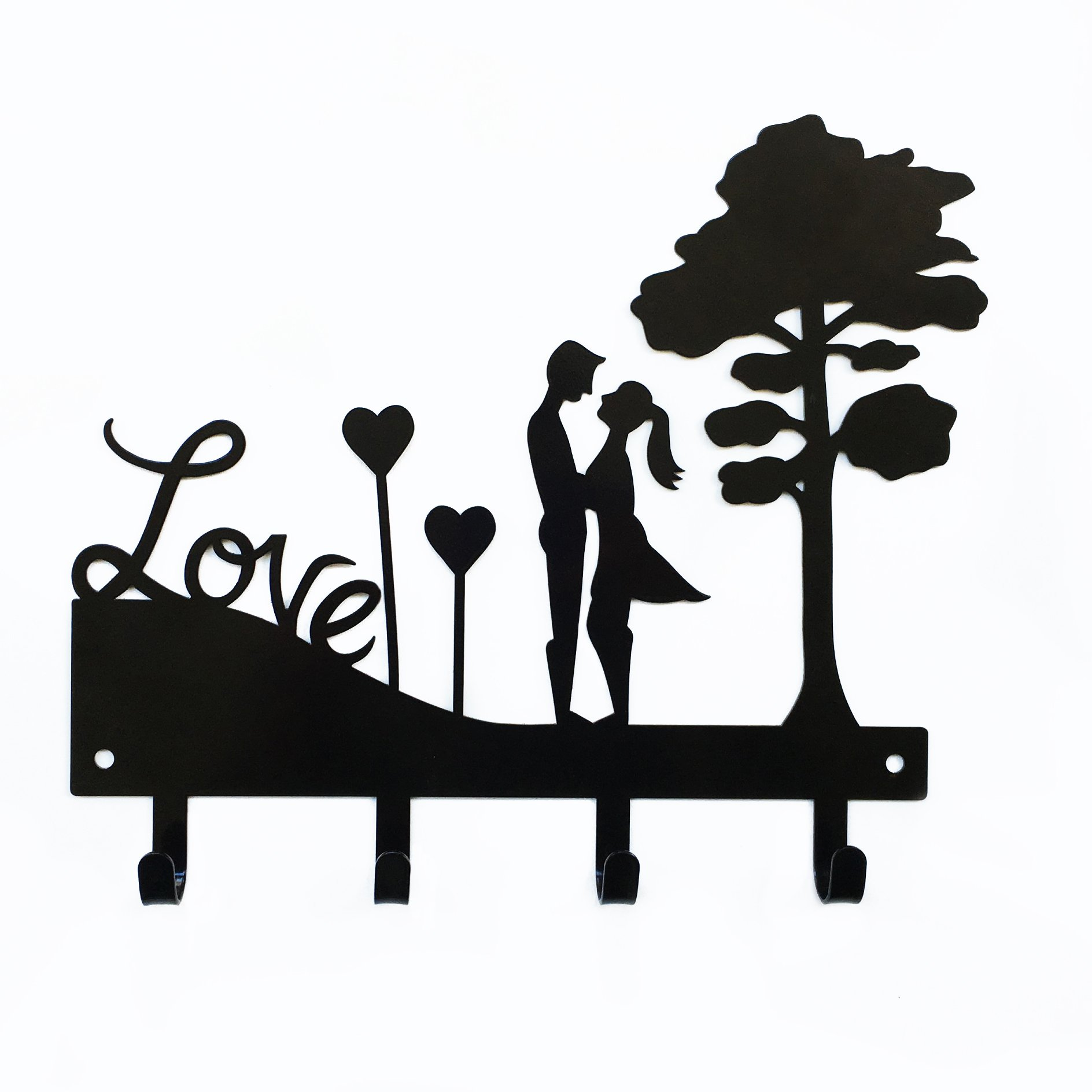 Love Couple Key Holder | Key Holder for Wall | Key Rack Organizer for Entryway and Kitchen - Wall Mount | Housewarming Gift | 4 hook key holder | Black metal key hanger