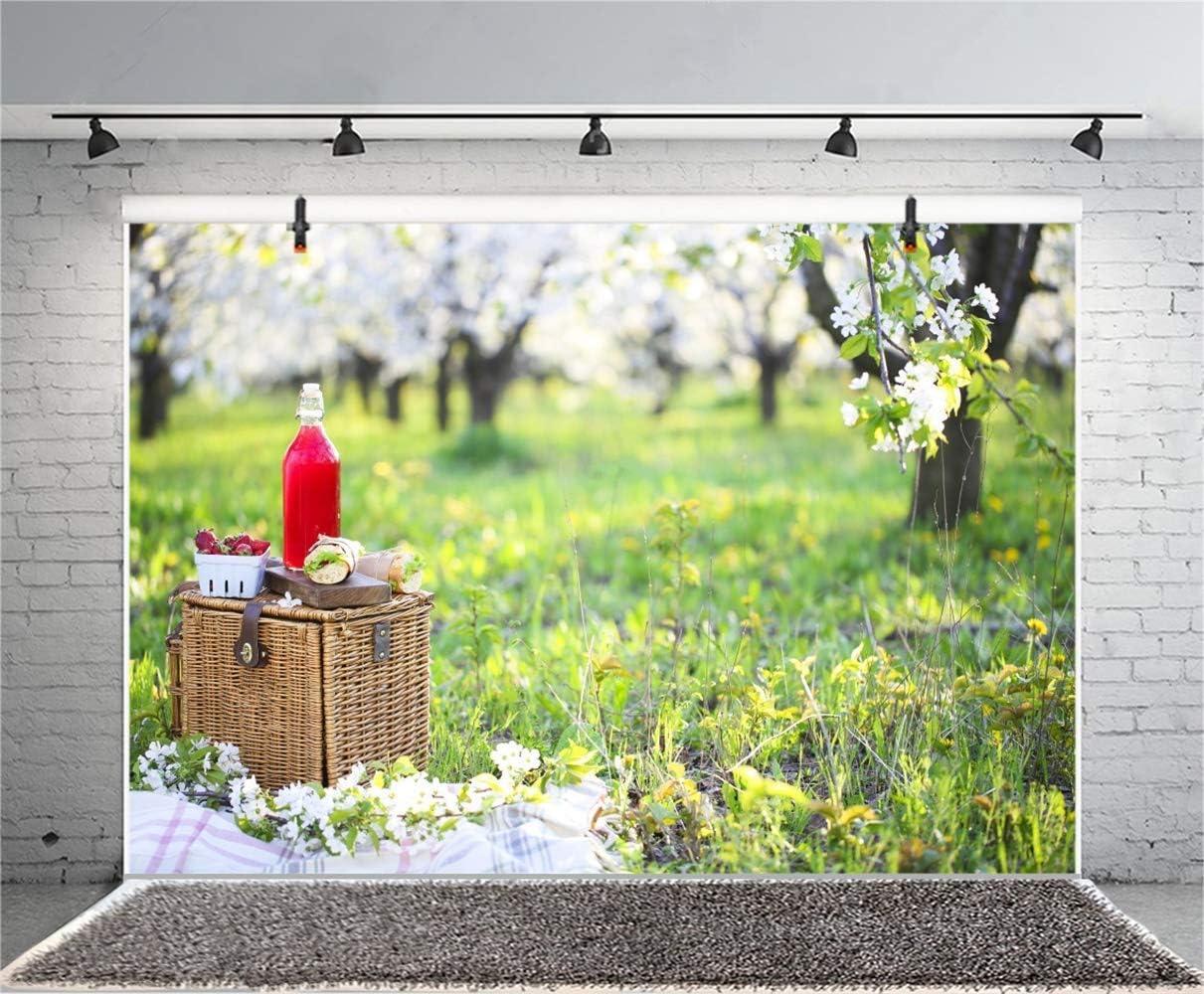 10x6.5ft Blossoming Gardon Picnic Polyester Photography Backdrop Spring Scenic Background Basket Sandwiches Juice Strawberry White Flowers Green Grassland Wedding Photo Studio Prop