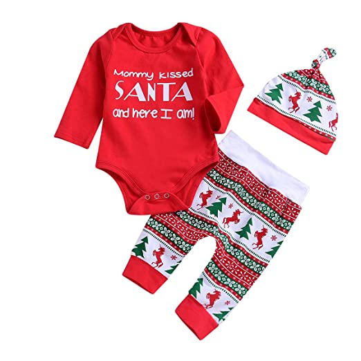 1562bc702 Amazon.com: 0-24M Infant Baby Boy Girl Christmas Outfit Red  Romper+Pants+Hat 3PCS Xmas Set: Clothing