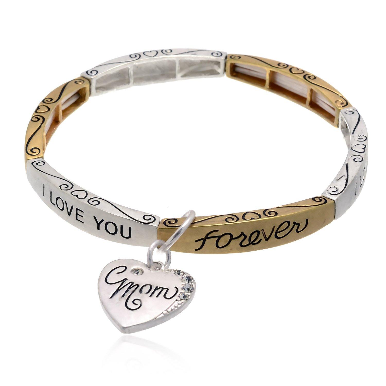 PammyJ Two-Tone MOM I Love You Best Stretch Charm Bracelet