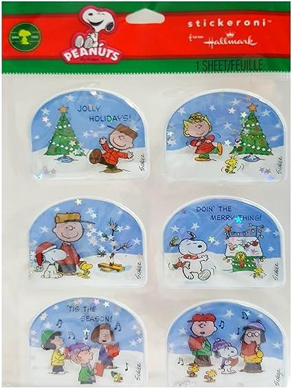 "Hallmark Peanuts Snoopy /& Woodstock Glittered Christmas Card~6 3//4/"" X 4 3//4""~NEW"