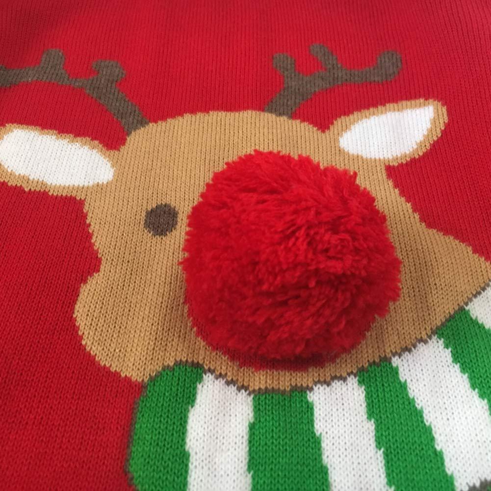 KIMJUN Toddler Baby Sweater Kid Unisex Christmas Deer Knit Pullover Sweater for Girls Boys 1-5t