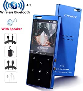 MP3 Player with Bluetooth4.2, CCHKFEI 16GB Portable MP3 Player with Speaker Touch Button/1.8TFT Screen Metal Body HiFi Music Player with FM Radio, Voice Recorder, Supports up to 128GB SD Card