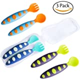Hibery 3 Pack Baby Spoon and Fork Travel Set with Bonus Travel Case - Toddler Training Learning Spoons Forks & Perfect Self Feeding Spoon, Great Baby Shower Gifts Set