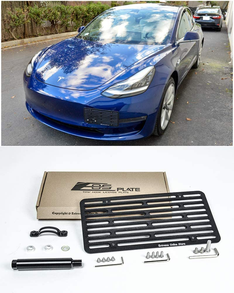 Extreme Online Store for 2016-Present Tesla Model 3   EOS Plate Version 2 Front Bumper Tow Hook License Plate Mount Relocator with Lowering Extension Bracket Tow-457-V2 (Full Size)