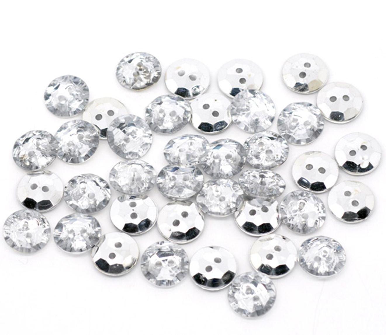 25 verre effet cristal en plastique 15 mm Bouton Rond Couture pour ornements bijoux et v/êtements Bling artisanat
